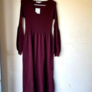 Zara burgundy knit midi dress long sleeve ribbed